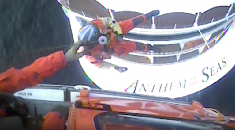 A Coast Guard aircrew medevacs an ailing man from a cruise ship about 51 miles east of Ocean City, New Jersey, Friday, April 27, 2018. (U.S. Coast Guard video by Air Station Atlantic City/Released)