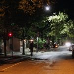 LED lighting in the background vs high-pressure sodium lighting in the foreground on Spruce Street.