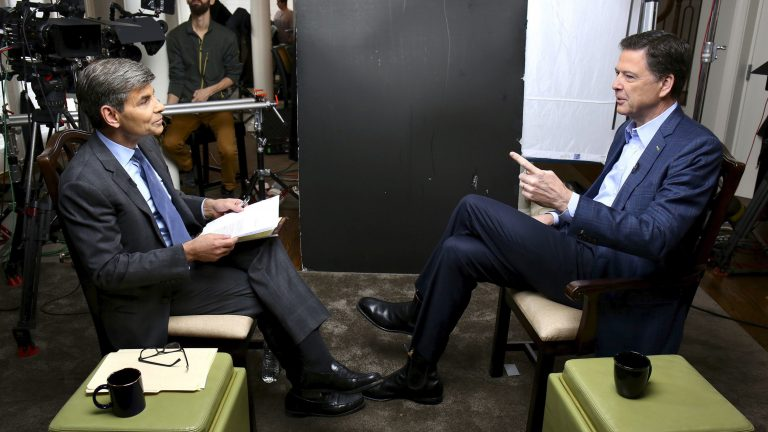 In this image released by ABC News, correspondent George Stephanopoulos, left, appears with former FBI director James Comey for a taped interview that aired during a primetime 20/20 special on Sunday.