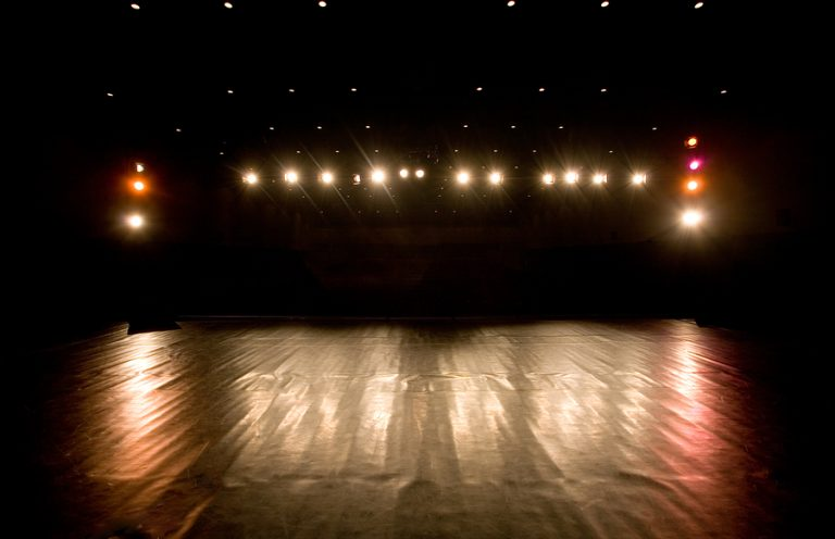 spotlights and reflections on a modern theater stage