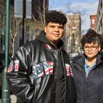 Puerto Rican evacuees Crisjoel Morales Monet, 17, and Judy Morales Monet, 16, are staying at the Holiday Inn Express in Center City with their mom and oldest brother Friday April 20th. They still don't know where to go next. (Kimberly Paynter/WHYY)