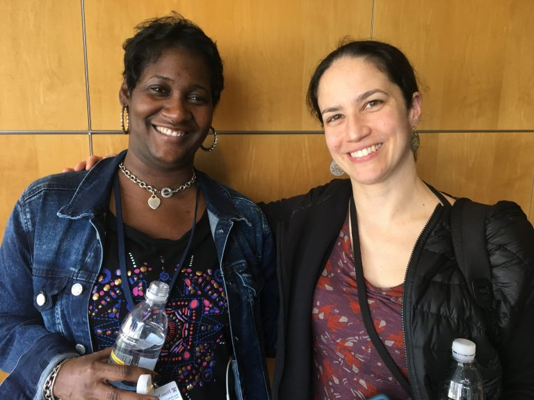 Catherine Price has Type I diabetes, Keysha Brooker has Type II. Over the course of an hour, they shared with one another how diabetes has defined them and impacted their lives. (Elana Gordon/WHYY)