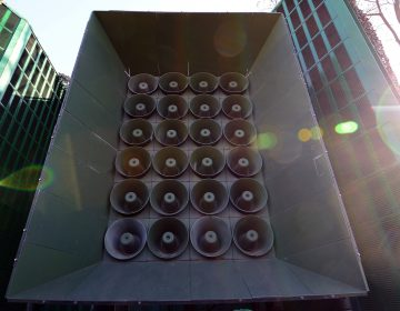 South Korea's speaker array, located at a military base near its border with the North. The South Korean Ministry of Defense announced on Monday it would cease propagandistic broadcasts of K-pop and other audio. (Pool/Getty Images)