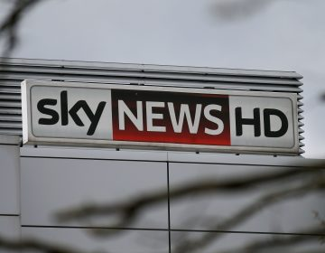 A Sky News logo is pictured on a sign outside pay-TV giant Sky Plc's London headquarters on March 17, 2017.