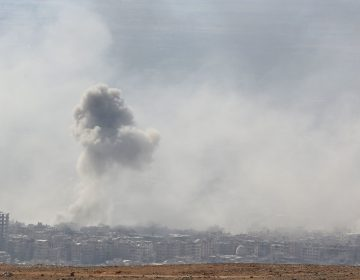 Smoke billows in Douma, Syria, on Saturday. The White House says President Trump is weighing military action following an alleged chemical attack in the town. (AFP/Getty Images)