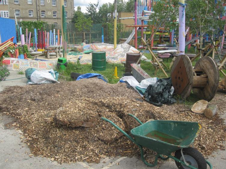 "Glamis Adventure Playground in London, where kids play with hammers, wheelbarrows and other ""risky"" play inspiration."