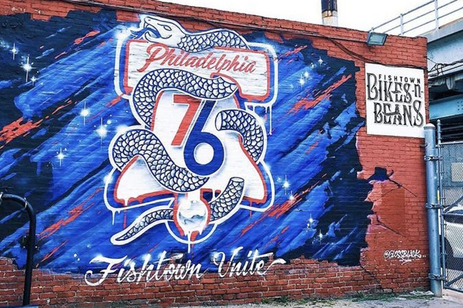 One of a series of murals for the Philadelphia 76ers playoff mural campaign in 2018 (Conrad Brenner/Streets Dept.)