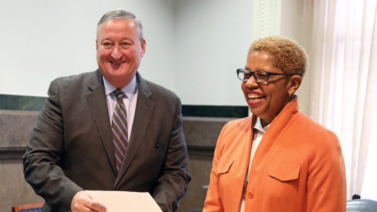 Pictured in this WHYY file photo are Mayor Jim Kenney and Joyce Wilkerson. Both Wilkerson and Christopher McGinley  (not pictured) were today named to the 9 member Philadelphia School Board. (WHYY, file)