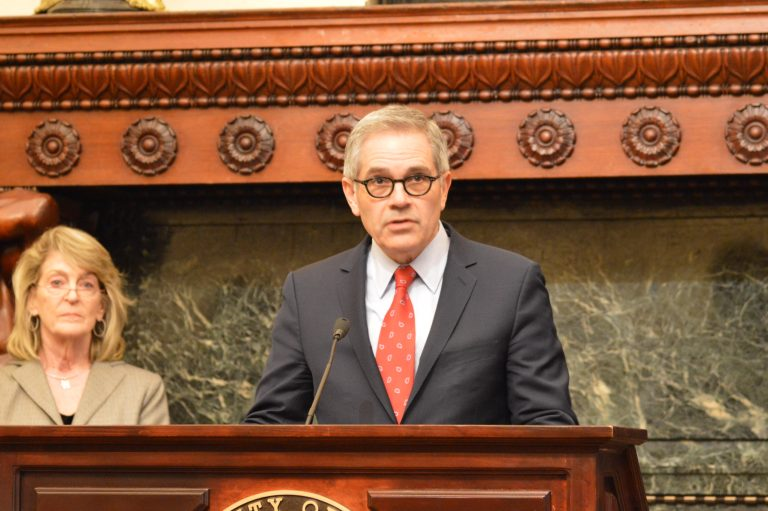 District Attorney Larry Krasner explains how fewer prosecutions mean a smaller prison population,  allowing the House of Corrections to be shut down by 2020. (Tom MacDonald, WHYY)