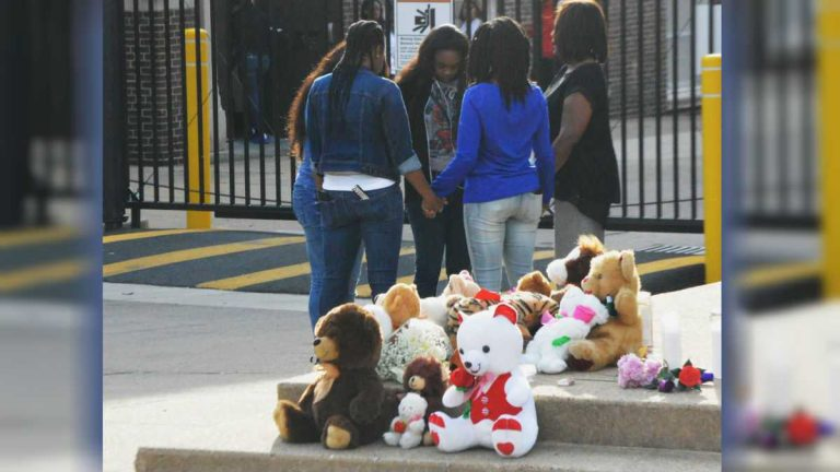 Grieving students made a shrine of teddy bears outside Howard High School of Technology in Wilmington after Amy Joyner-Francis died there in April 2016 after being attacked by classmates in the bathroom. (File/WHYY)