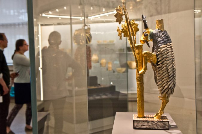 A standing goat offering figure at the Penn Museum's Middle East Galleries. (Kimberly Paynter/WHYY)