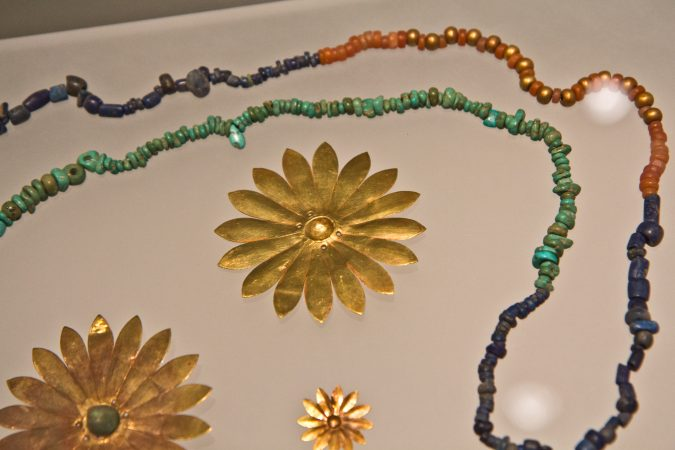 Jewelry and ornaments found at an excavated home in Tepe Gawra, modern day Iraq, 4300 BCE. (Kimberly Paynter/WHYY)