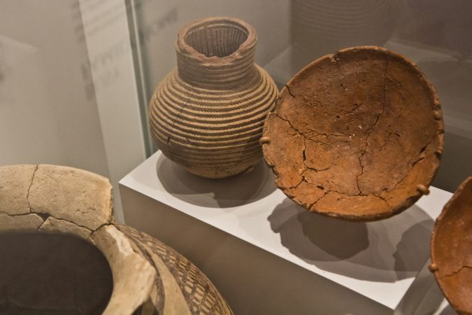 A clay pot made to look like a woven basket  found at an excavated home in Tepe Gawra, modern day Iraq, 4300 BCE. (Kimberly Paynter/WHYY)