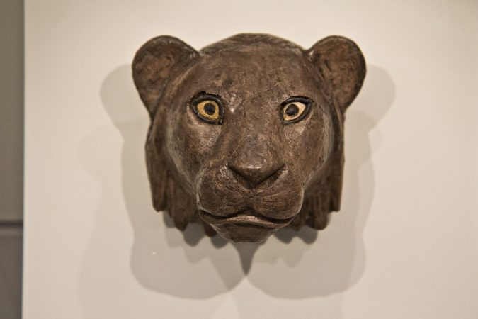 Lion's head sculpture from Ur, 2450 BCE. (Kimberly Paynter/WHYY)