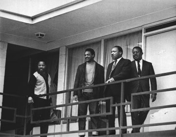 Martin Luther King Jr. stands with fellow civil rights leaders on the balcony of the Lorraine Motel in Memphis, Tenn., on April 3, 1968 -- one day before he was assassinated while standing in approximately the same place. From left are Hosea Williams, Jesse Jackson, King and Ralph Abernathy.