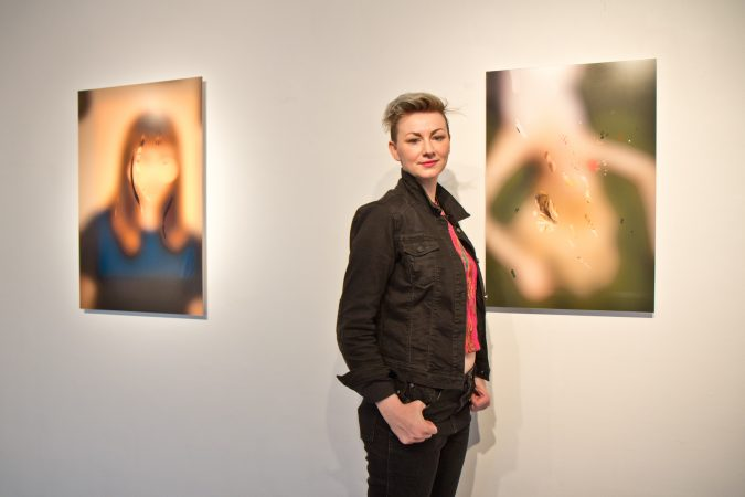 Danielle Ezzo is a featured artist and curator of Phantom Limb at the Esther Klein Gallery. (Kimberly Paynter/WHYY)
