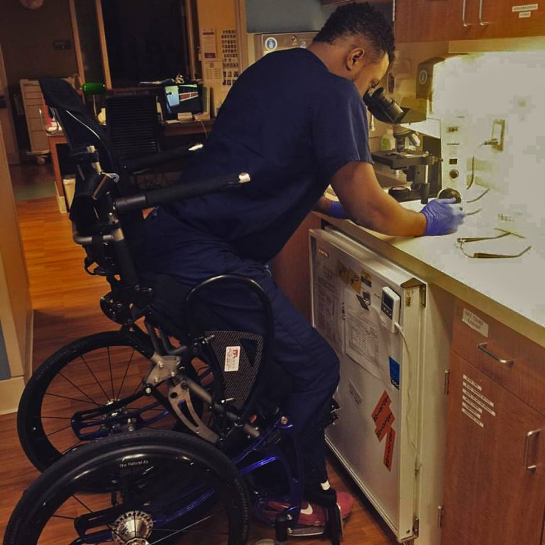 Feranmi Okanlami is a doctor at Michigan Medicine and became partially paralyzed after an accident in 2013, during his medical residency. (Courtesy Feranmi Okanlami)