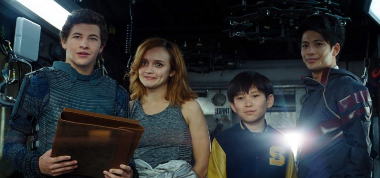 Tye Sheridan, from left, Olivia Cooke, Philip Zhao, and Win Morisaki