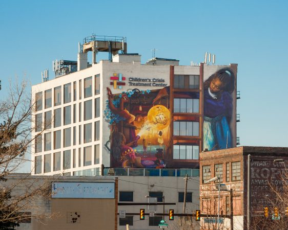 "The north side of the ""Rippling Moon"" mural. (courtesy of Mural Arts)"
