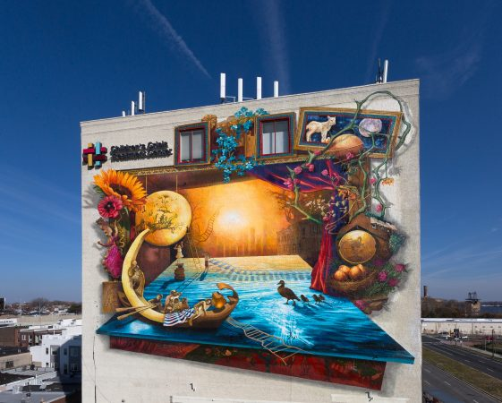 "The south side of the ""Rippling Moon"" mural. (courtesy of Mural Arts)"