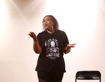 WURD's Stephanie Renée emceed the storytelling event at The African American Museum in Philadelphia on April 21, 2018. (Courtesy of Dan Papa with First Person Arts.)