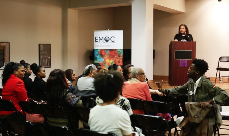 WURD's Stephanie Renée looks on as audience members discuss strategies to handle difficult family relationships during an event at The African American Museum in Philadelphia on April 21, 2018. (Courtesy of Dan Papa with First Person Arts.)