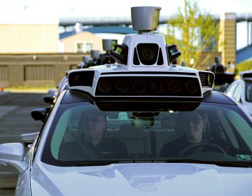 A self driving car in Pittsburgh. (Megan Harris/ 90.5 WESA)