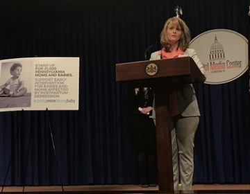 Kim Manfredi, who struggled with postpartum depression, said earlier intervention might have kept her son from needing as much special education as he does. (Katie Meyer/WITF)