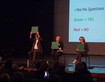 Congressional candiates answer simple yes or no questions at the Democratic congressional debate for the new Pennsylvania 4th Congressional district. (Emily Cohen for WHYY)