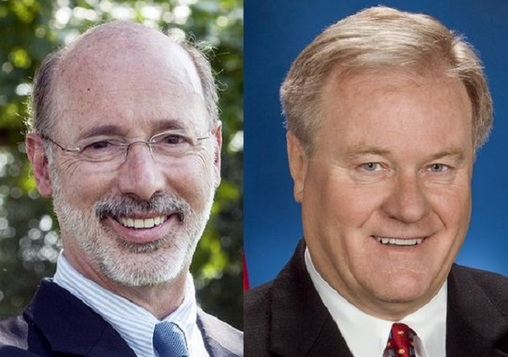 According to a new poll, Gov. Tom Wolf (right), a Democrat, has the edge over GOP challenger Scott Wagner in the leadup to Pennsylvania's gubernatorial election. (WITF, file)