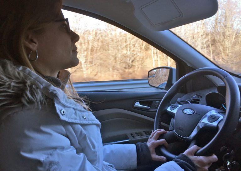Private investigator Tina Blanchette rides around on a surveillance mission.