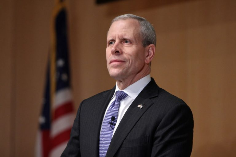 Paul Mango, a Republican candidate for governor of Pennsylvania, participates in a debate at the National Constitution Center. (Emma Lee/WHYY)