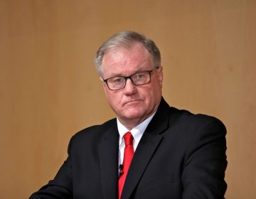 Republican nominee for governor of Pennsylvania, Scott Wagner, participates in a primary debate at the National Constitution Center. (Emma Lee/WHYY)