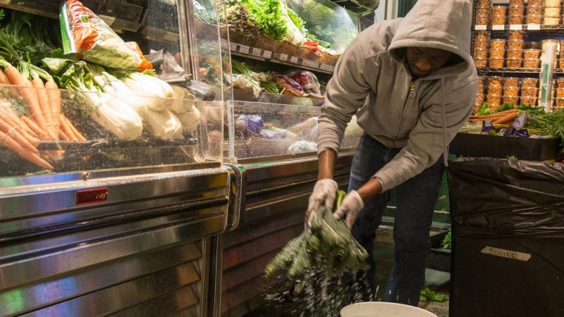 Yero Illo, 36, washes some kale before stacking it in the container. (Emily Cohen for WHYY)