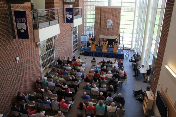 Pennsylvania 1st Congressional District Republican candidates debate at Bucks County Community College. (Emma Lee/WHYY)
