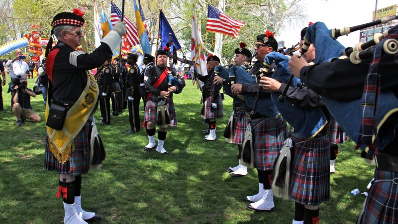 The Philadelphia Police and Fire Pipes and Drums play