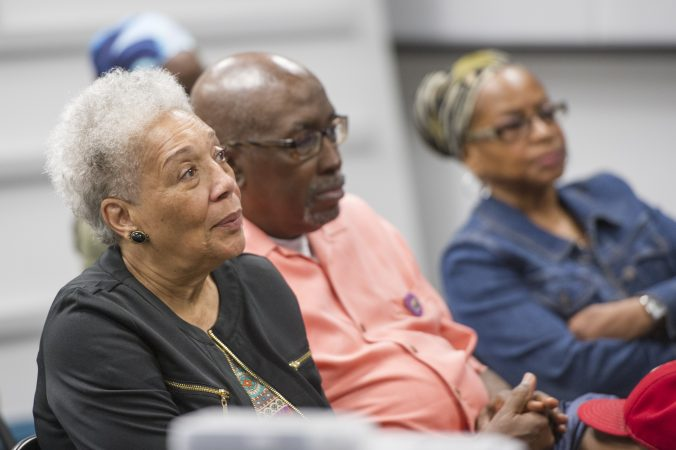 Audience members listen to speakers at event about Malcolm X. (Jonathan Wilson for WHYY)