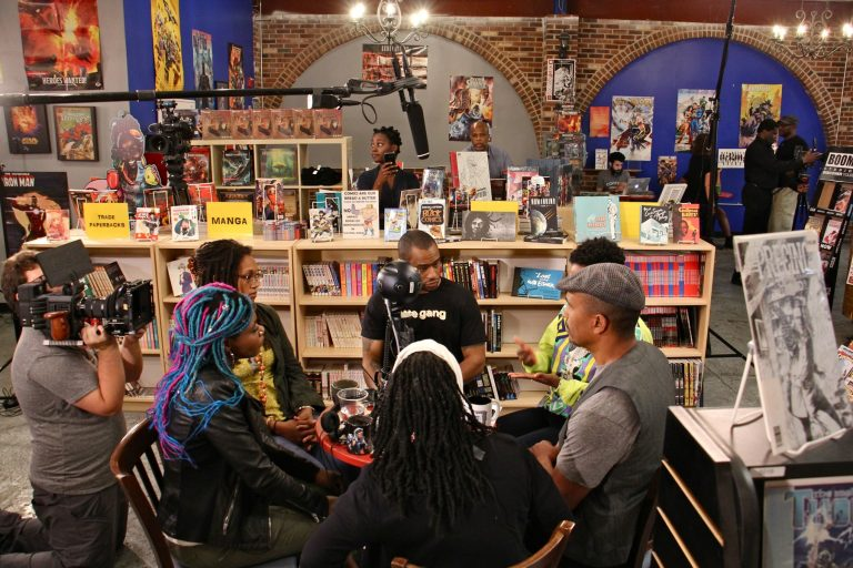 Black coffee shop owners gather for a live-streamed conversation about retail racism and supporting black businesses at Amalgam Comics and Coffeeshop in Kensington. Participating are (clockwise from left) Amalgam owner Ariell Johnson, owner of Franny Lou's Porch Blew MaryWillow, activist Mark Lamont Hill, Shantrell P. Lewis of Shoppe Black, Keba Konte of Red Bay Coffee, and activist Pam Africa.