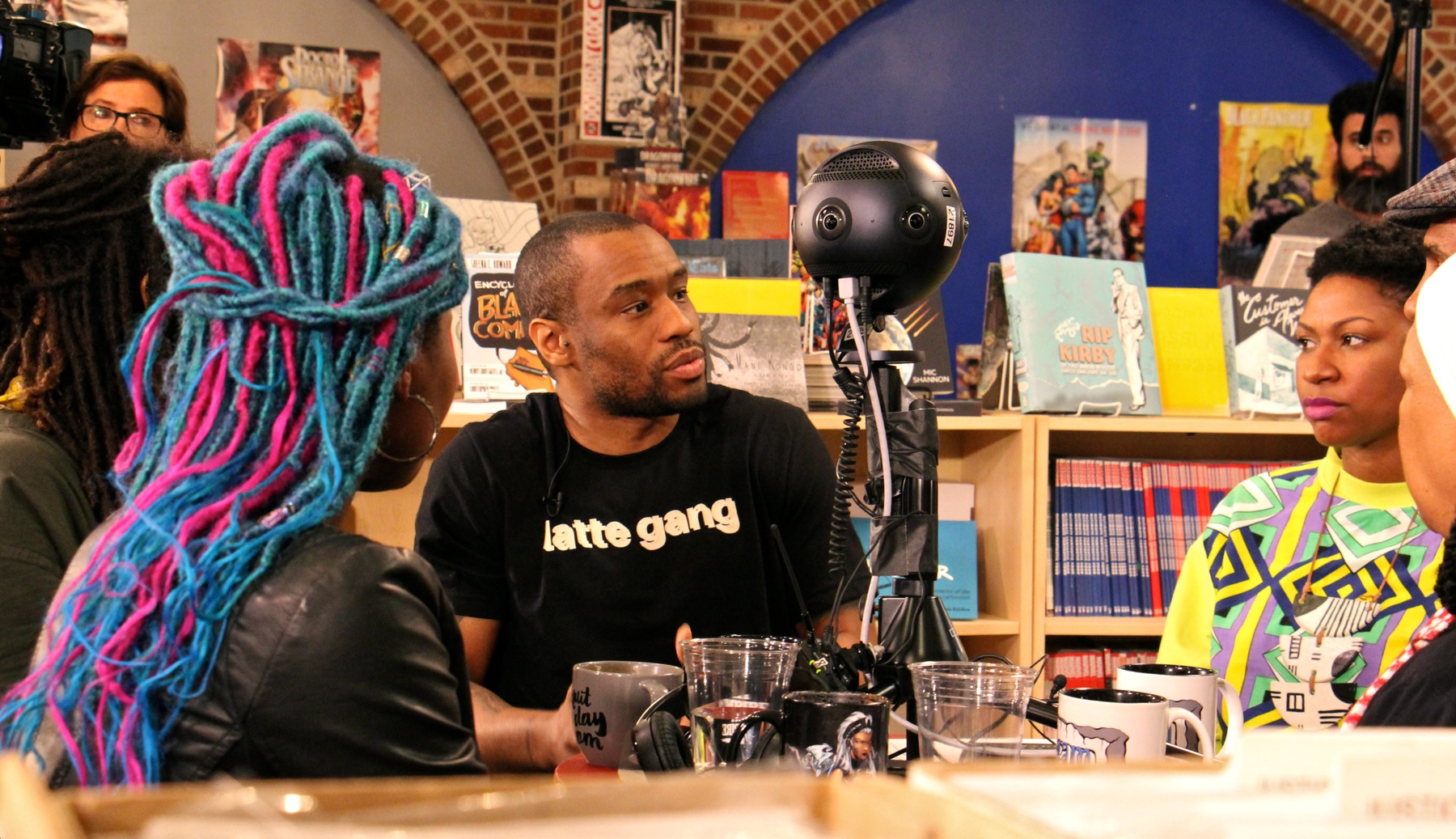 Marc Lamont Hill, activist and owner of Uncle Bobbie's Coffee & Books, participates in the roundtable discussion which was live-streamed using a 360-degree camera.