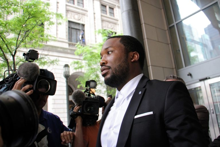 Rapper Meek Mill leaves Philadelphia's Criminal Justice Center Wednesday morning, May 30, 2018, where his request for a new judge was denied.