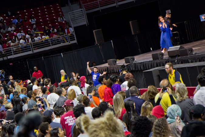 Camila Cabello performs for college-bound Philadelphia seniors at College Signing Day. (Kimberly Paynter/WHYY)