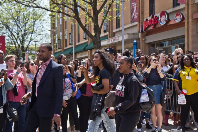 Ciara encouraged graduating seniors at College Signing Day in Philadelphia. (Kimberly Paynter/WHYY)