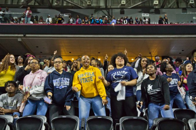 Philadelphia seniors celebrate at College Signing Day. (Kimberly Paynter/WHYY)