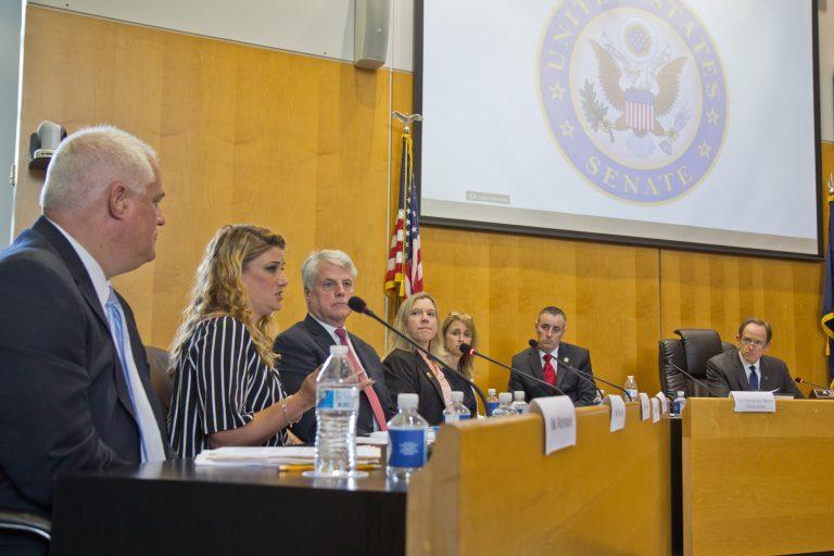 Pennsylvania U.S. Sen. Pat Toomey (far right) attended a hearing on opioid prescriptions in Bensalem Tuesday.(Kimberly Paynter/WHYY)