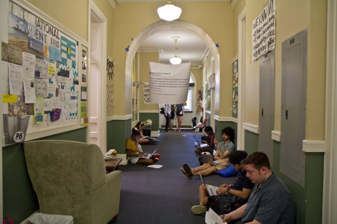 Swarthmore students are staging a sit-in at the college administration offices in protest of the school's sexual assault-reporting policy. (Kimberly Paynter/WHYY)