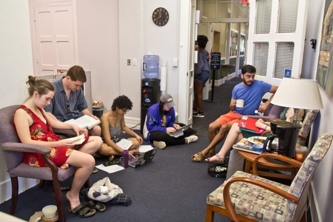 Swarthmore students sit outside the office of Liz Braun, dean of students. (Kimberly Paynter/WHYY)
