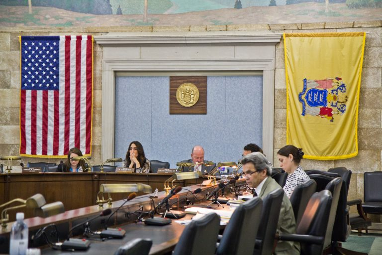 The N.J. state Senate held a hearing to investigate hidden-camera videos that appear to show local leaders of a the teachers union talking about protecting teachers accused of abusing students. (Kimberly Paynter/WHYY)