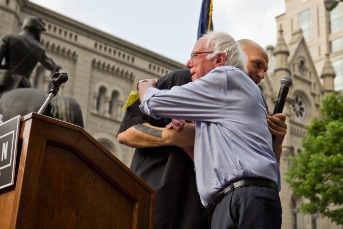 Vermont U.S. Sen. Bernie Sanders endorses John Fetterman for lieutenant governor of Pennsylvania. The primary is May 15. (Kimberly Paynter/WHYY)