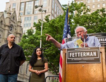 U.S. Sen. Bernie Sanders of Vermont speaking at a rally outside Philadelphia City Hall. (Kimberly Paynter/WHYY)