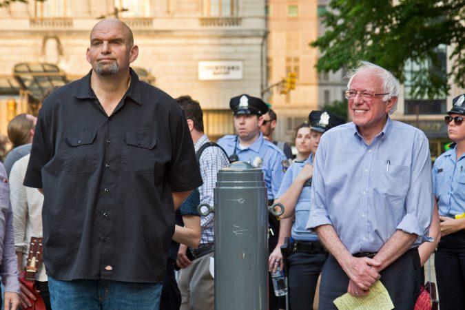 In Philadelphia, Vermont U.S. Sen. Bernie Sanders endorsed John Fetterman for lieutenant governor of Pennsylvania. (Kimberly Paynter/WHYY)